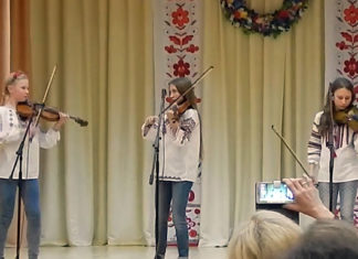 Trio of violinists: Sofia Kroshniak, Anastasia Lytvynova, Vira Shelepylo
